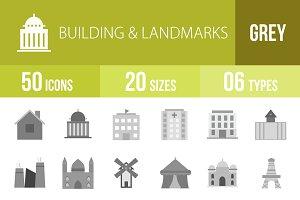 50 Building&Landmark Greyscale Icons
