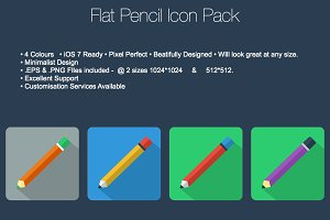 Flat Pencil Icon Pack (Vector)