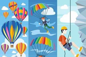 Parachuting, Ballooning Rock Climbin