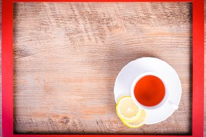 Red frame and hot hibiscus drink