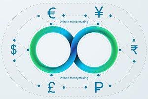 Infinite money making vector icons