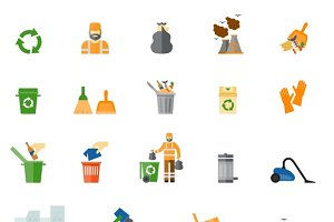 Garbage and trash flat icons set