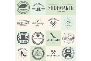 Set of shoes repair shoemaker labels
