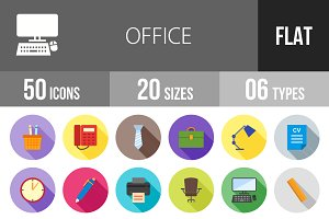 50 Office Flat Shadowed Icons