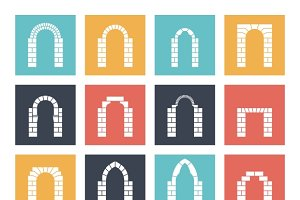 Flat silhouette icons arches