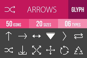 50 Arrows Glyph Inverted Icons