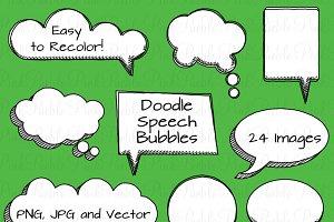 Doodle Speech Bubbles Clipart/Vector