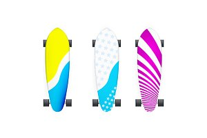 Color longboards vector illustration