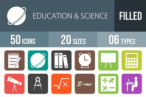 50 Education Flat Round Corner Icons
