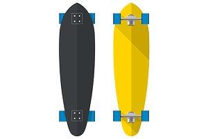 Black yellow longboards illustration