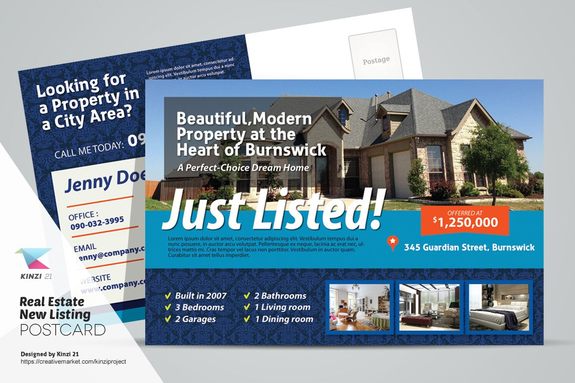 Real Estate New Listing Postcard Card Templates Creative Market