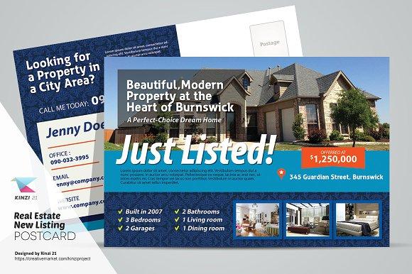 real estate new listing postcard card templates on creative market. Black Bedroom Furniture Sets. Home Design Ideas