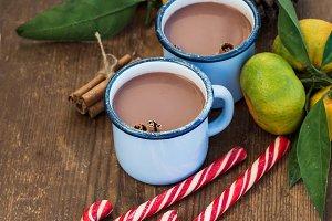 Hot chocolate in enamel metal mugs