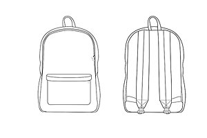 Backpack Fashion Flat Template