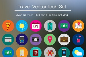 Flat Travel Icon Pack - PSD & Vector