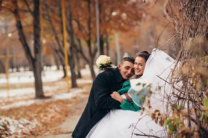 Beautiful wedding in autumn  park