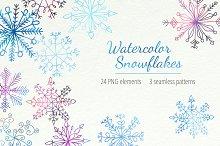 Watercolor Snowflakes Set