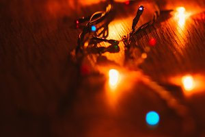 Christmas lights on wooden