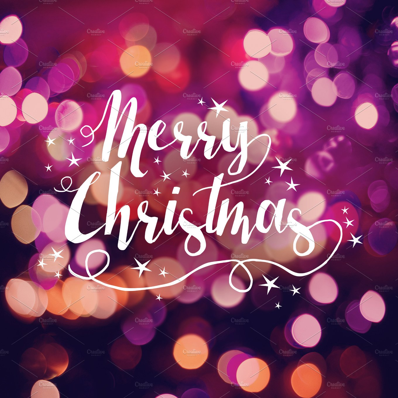 Merry Christmas bokeh text card ~ Holiday Photos ~ Creative Market