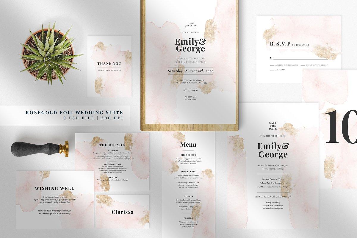 Rose Gold Foil Wedding Suite