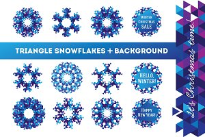 Triangle snowflakes +background pack