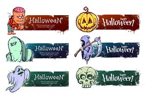 Halloween Banners + Characters