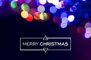 Merry christmas bokeh greeting card