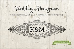 Ornate Monogram Template AI & PSD