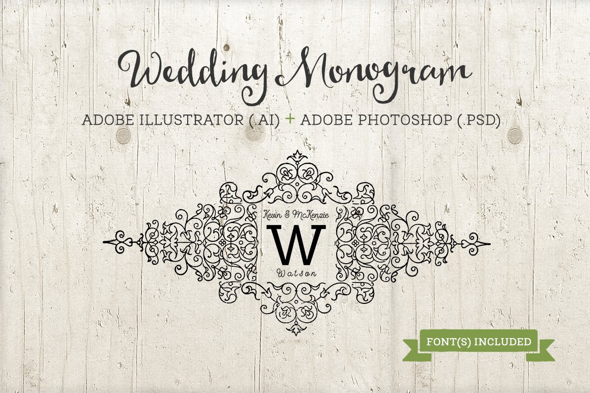 Wedding Monogram Template AI & PSD ~ Templates ~ Creative Market
