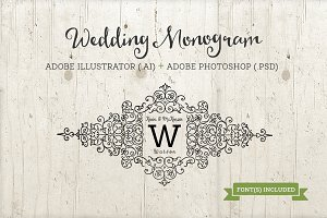 Wedding Monogram Template AI & PSD