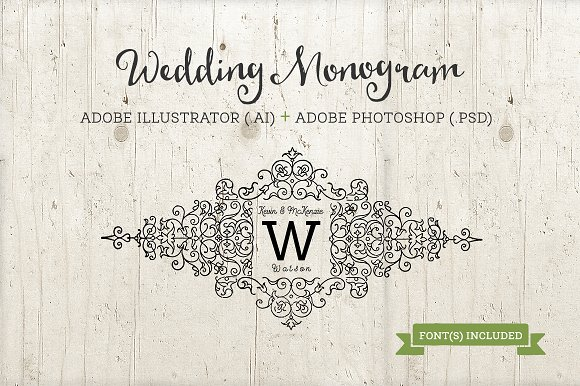 wedding monogram template ai psd templates creative market