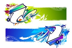 Abstract Graffiti Banners