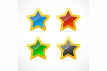 Colorful Star Icon Set. Vector