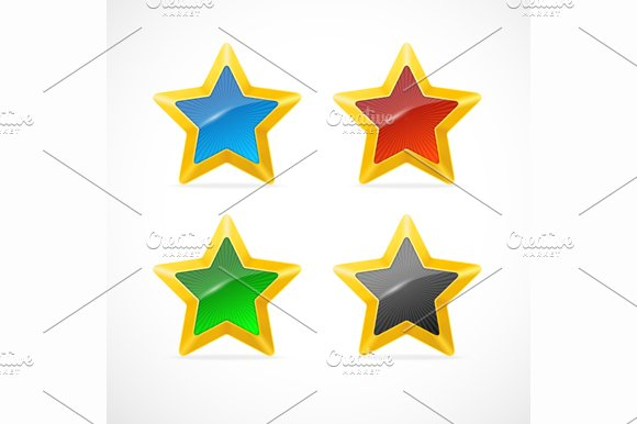 Colorful Star Icon Set. Vector - Objects