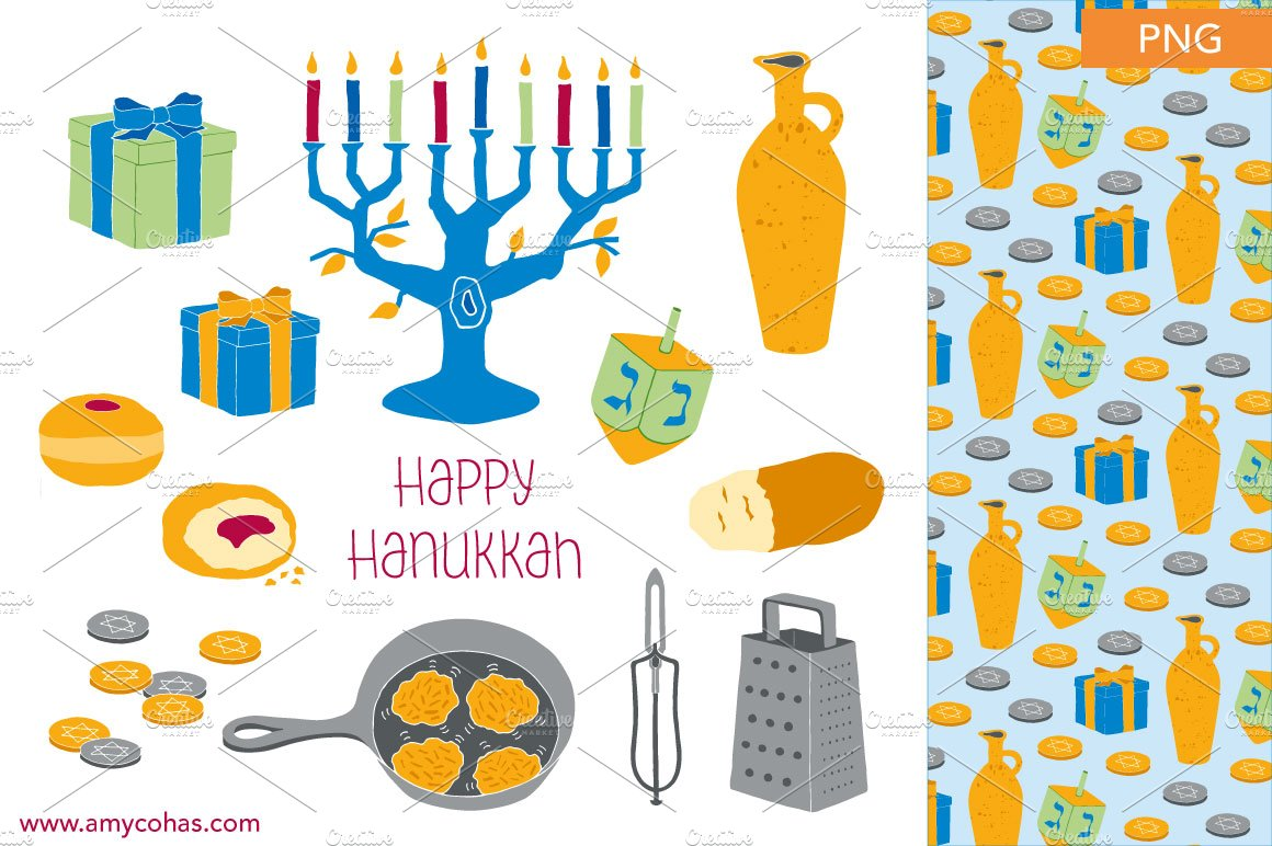 Happy hanukkah clip art illustrations creative market buycottarizona Images