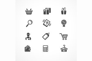 Shopping Icons Black. Vector