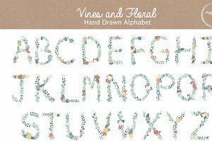 Vines and Floral Alphabet