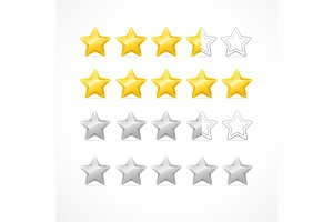 Rating Stars Isolated on White.