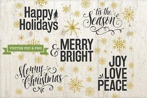 Vector Christmas Overlays Text Word