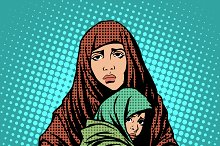 Mother and child refugees immigrants