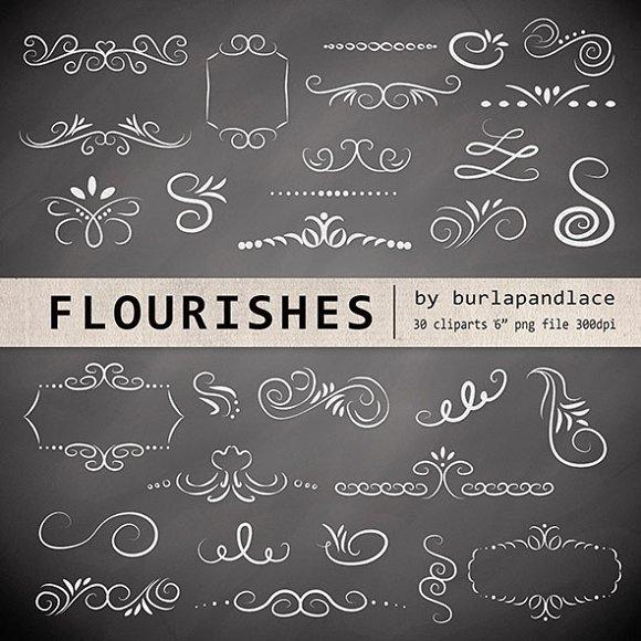 Chalkboard Flourishes Clipart Illustrations Creative Market