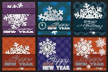 Holiday card with snowflakes.