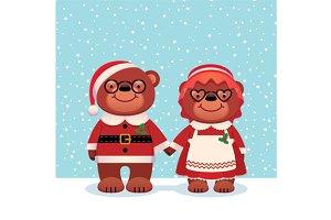 Bear Santa Claus and his wife