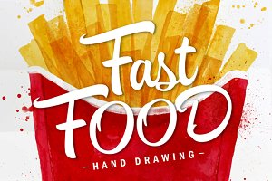 Fast Food Watercolor