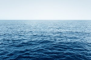 Blue Ocean waves and clear blue sky