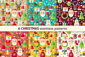 Christmas Flat Seamless Patterns