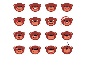 Set of vector smiley teddy bear