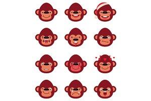 Set smiley monkey isolated on white