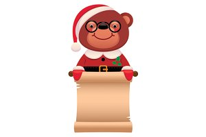 Teddy bear Santa Claus with a scroll