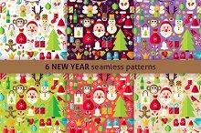 New Year Flat Seamless Patterns